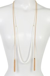 14Th And Union Long Glass Pearl Tassel Necklace Metallic