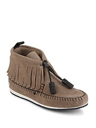 Rag And Bone Madrid Fringed Suede Moccasins Taupe