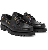 Gucci Embossed Leather Boat Shoes Black