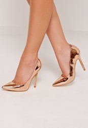 Missguided Mirrored Court Shoes Rose Gold Pink