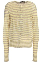 Piazza Sempione Striped Linen And Cotton Blend Cardigan Pastel Yellow