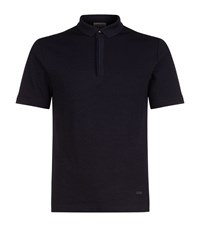 Armani Collezioni Stretch Jersey Textured Polo Shirt Male Navy