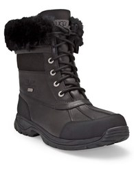 Ugg Mens Butte Sheepskin Leather Boots Black