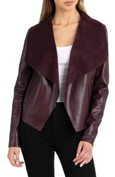 Bagatelle Drape Faux Leather And Faux Suede Jacket Aubergine