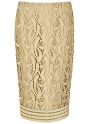 No.21 Gold Guipure Lace Pencil Skirt