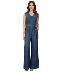 7 For All Mankind Wide Leg Denim Jumpsuit W Topstitching In Crescent Blue Crescent Blue Women's Jumpsuit And Rompers One Piece