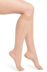 Women's Item M6 Sheer Compression Knee High Socks Powder