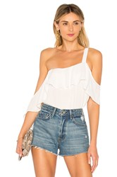 Krisa Off Shoulder Drop Ruffle Tank Top White
