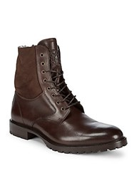 Bruno Magli Leather Lace Up Boots Dark Brown