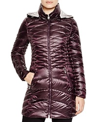 Laundry By Shelli Segal Lightweight Puffer Coat Aubergine Pewter