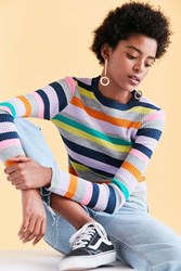 Silence And Noise Rainbow Stripe Crew Neck Sweater Multi