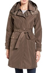 Vince Camuto Women's Hooded Trench Coat Dark Taupe