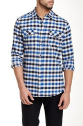 Micros Baker Long Sleeve Plaid Shirt Blue