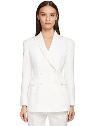 Ermanno Scervino Double Breasted Silk Jacquard Jacket White