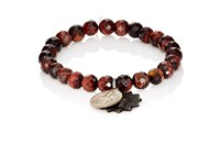 Miracle Icons Men's Charms On Beaded Bracelet Red