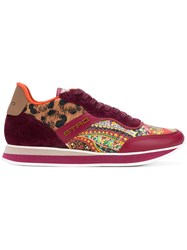 Etro Mixed Print Lace Up Sneakers Red