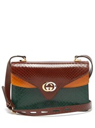 Gucci Gg Python Leather Accordion Shoulder Bag Brown Multi