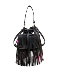 Betsey Johnson Fringed Faux Leather Bucket Bag Black