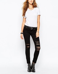 Tripp Nyc Low Rise Skinny Jeans With Rips And Distressing Black