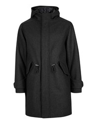 Topman Grey Charcoal Wool Rich Military Style Parka