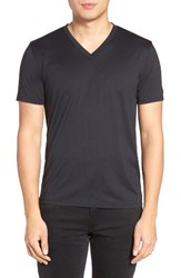 Theory Men's Silk And Cotton V Neck T Shirt Eclipse
