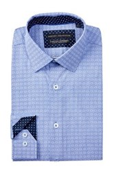 Report Collection Long Sleeve Slim Fit Stretch Printed Dress Shirt Blue