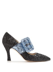 Attico Elsa Bi Colour Glitter Pumps Black Blue