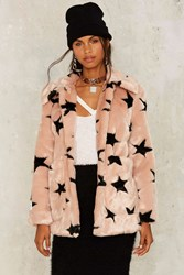 Jakke Tammy Star Faux Fur Coat Pink