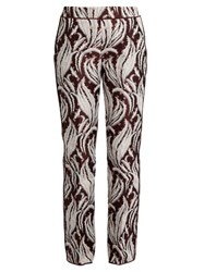 Giambattista Valli Leaf Jacquard Flared Trousers Burgundy Multi