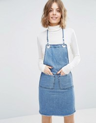 First And I Denim Pinafore Dress Denim Blue