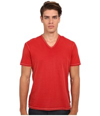 John Varvatos Short Sleeve Knit V Neck K677r4b Red Clay Men's T Shirt