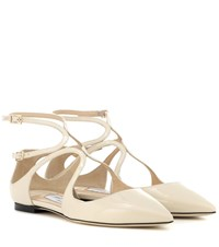 Jimmy Choo Lancer Patent Leather Ballet Flats White