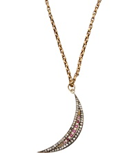 Annina Vogel Bespoke Diamond And Ruby Crescent Necklace