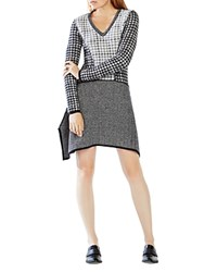 Bcbgmaxazria Monaco Mixed Pattern Sweater Dress Black Combo