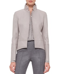 Akris Long Sleeve Leather Tailcoat Jacket Gravel