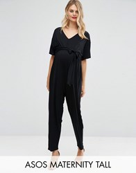 Asos Maternity Tall Belted Jumpsuit With Kimono Sleeve Black