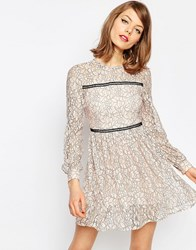 Asos Mini Lace Skater Dress With Ladder Trim Nude Pink