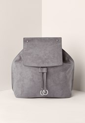 Missguided Grey Faux Suede Croc Circle Trim Back Pack