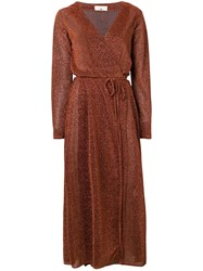 Danielapi Lurex Knit Wrap Dress Orange