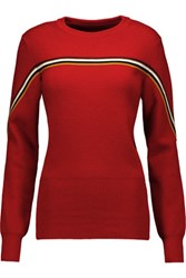 Isabel Marant Arlo Striped Wool Blend Sweater Red