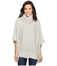 Christin Michaels Feya Fringe Turtleneck Poncho Beige Women's Coat
