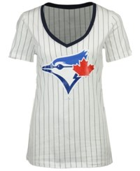 5Th And Ocean Women's Toronto Blue Jays Primary Pinstripe T Shirt Navy White
