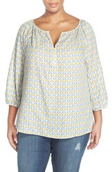 Plus Size Women's Caslon Henley Peasant Blouse Blue Colony Print