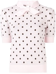Mulberry Polka Dotted Knitted Top Pink And Purple