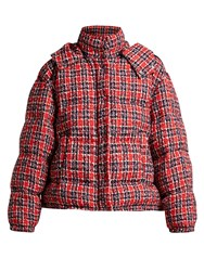 Gucci Down Filled Tweed Jacket Red Multi