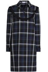 Claudie Pierlot Lace Trimmed Checked Twill Mini Dress Midnight Blue