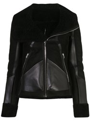 Rick Owens Panelled Shearling Biker Jacket Black