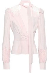 Zuhair Murad Silk Lace And Crepe De Chine Paneled Blouse Blush
