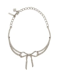 Oscar De La Renta Bow Crystal Embellished Necklace Silver