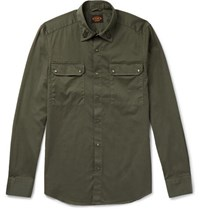 Tod's Slim Fit Embroidered Stretch Cotton Shirt Green